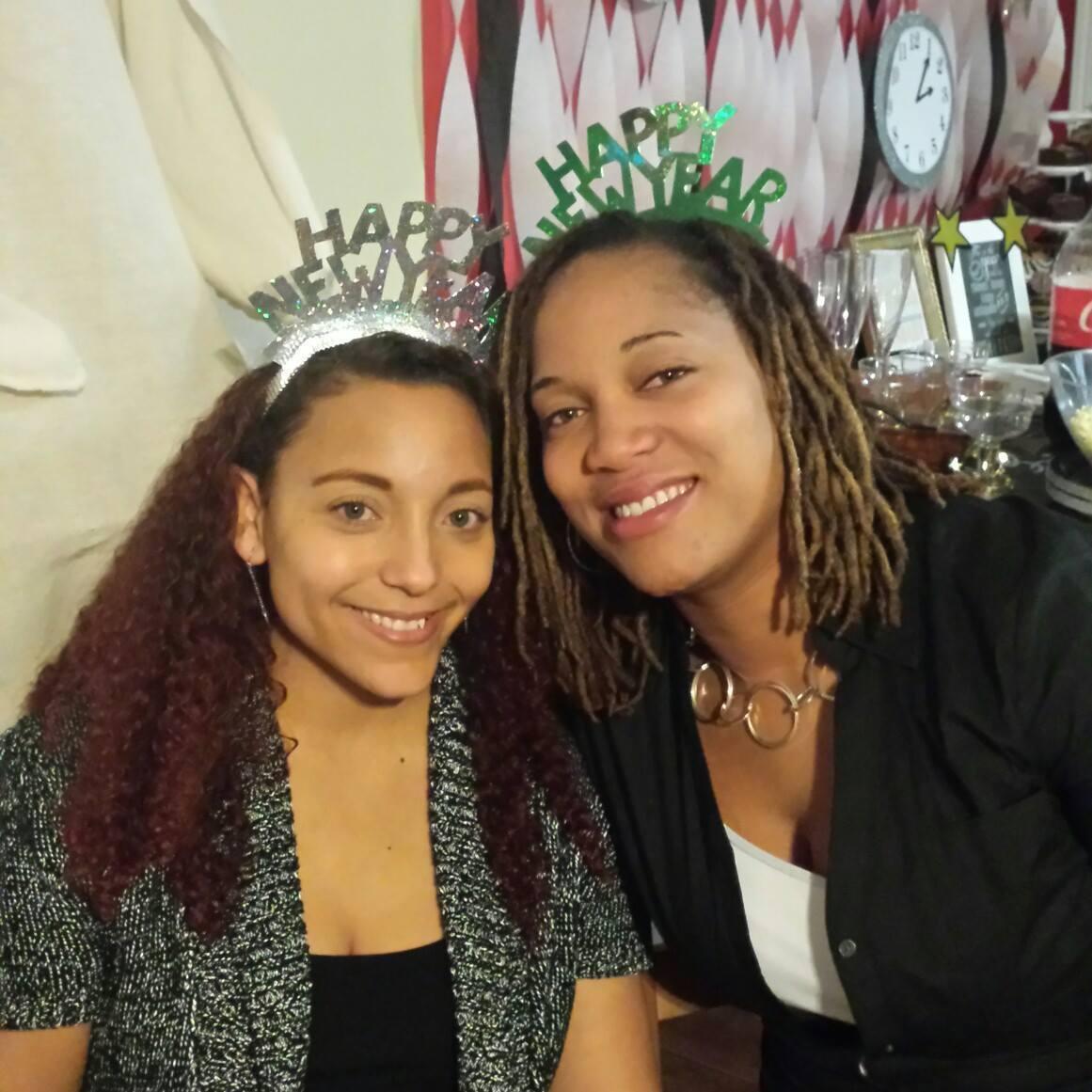 "Two girls celebrating New Years """